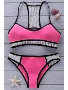 Crochet Neoprene Bikini - Pink M