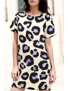 Fitting Printed Round Neck Short Sleeve Dress