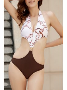 Backless Halter Printed One Piece Swimwear