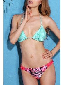 Buy Eyelet Ruffle Bikini Set - GREEN L