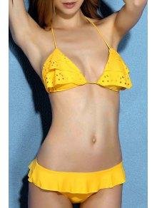 Buy Eyelet Ruffle Bikini Set - YELLOW S
