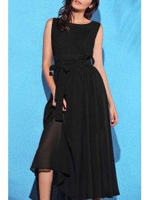 Black Round Collar Sleeveless Self-Tie Dress - Black