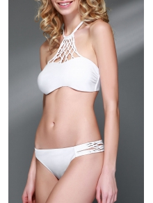 Openwork Halter Cut Out Bikini Set - WHITE S
