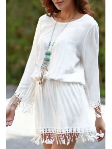 White Scoop Neck Long Sleeve Cover Up