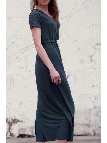 Deep Gray V Neck Short Sleeve Maxi Dress - Deep Gray