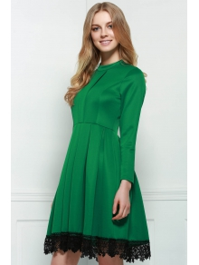 Lacework Splicing Stand Collar Long Sleeves Dress - GREEN S