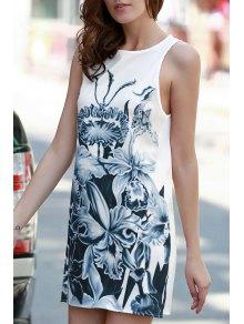 Floral Print A-Line Tank Dress - White