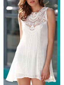 Spliced Openwork White Chiffon Dress - White