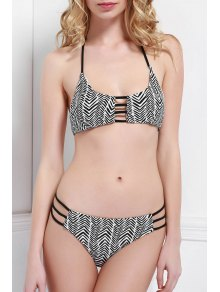 Halter Neck Zig Zag Tie-Up Bikini Set