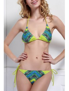 Halter Neck Color Block Plaid Print Bikini Set - L