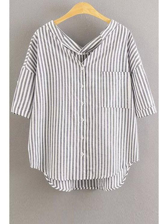 Rayas de manga 3/4 de la blusa holgada - Blanco S