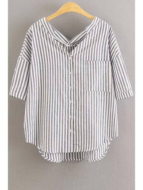unique Oversized Striped Pocket Blouse - WHITE S