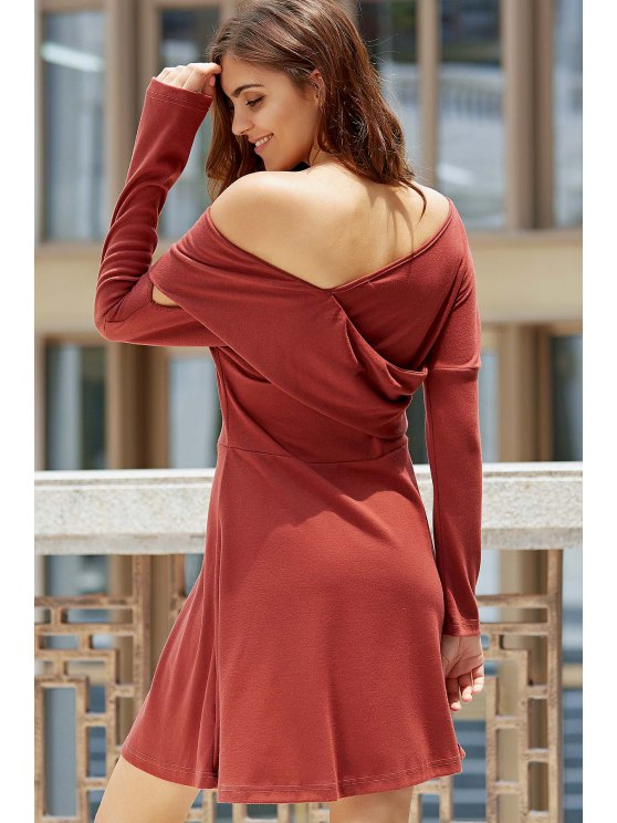 Cold Shoulder Long Sleeve Swingy Dress - LATERITE M Mobile