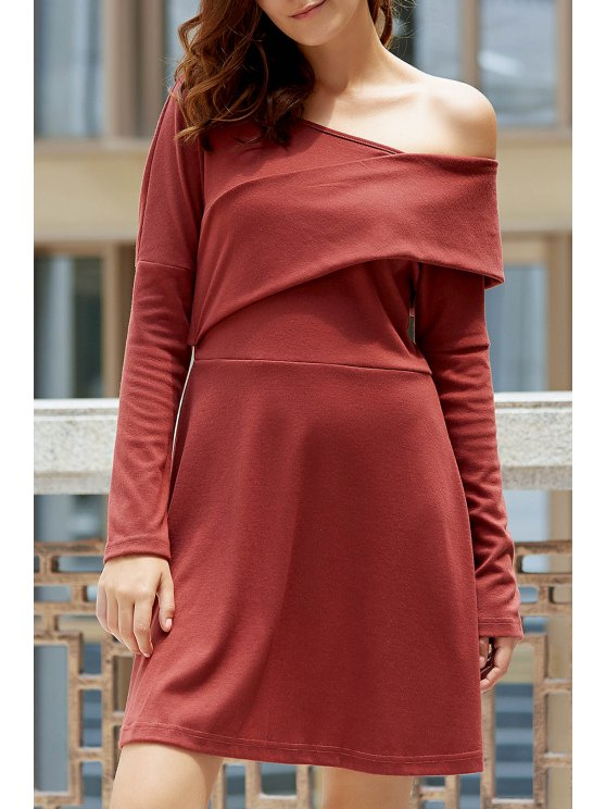 sale Cold Shoulder Long Sleeve Swingy Dress - LATERITE M