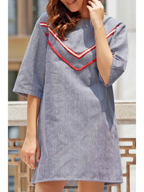 new Stripe Round Neck 3/4 Sleeve Cut Out Dress - STRIPE 2XL