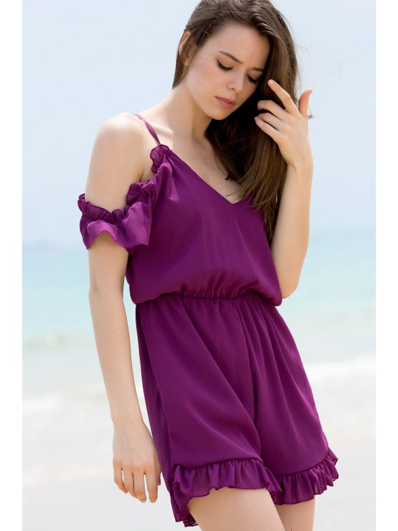 Solid Color Plunging Neck Short Sleeve Cold Shoulder Romper - PURPLE S Mobile