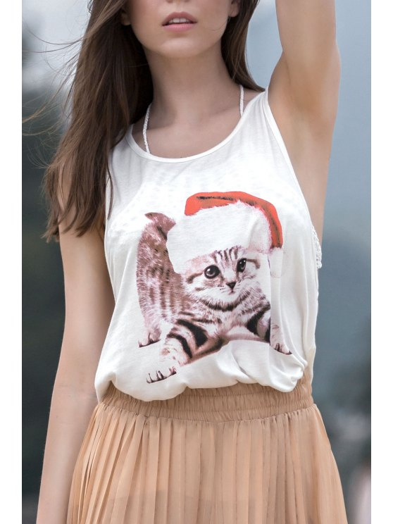 Gato impresión preciosa con cuello redondo sin mangas sin mangas - Blanco L