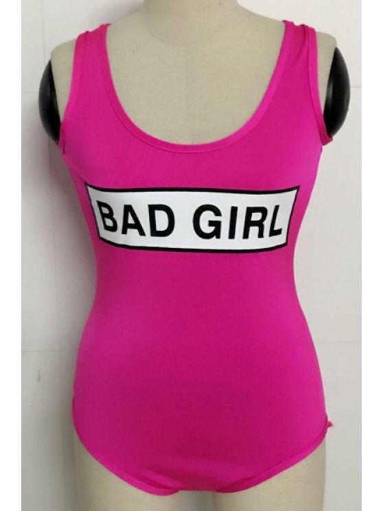 Lettre Imprimer Scoop Neck Bodysuit - Rose S