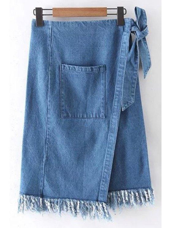 La raja del lado del bolsillo de talle alto Franjas dril de algodón de la falda - Azul Hielo S