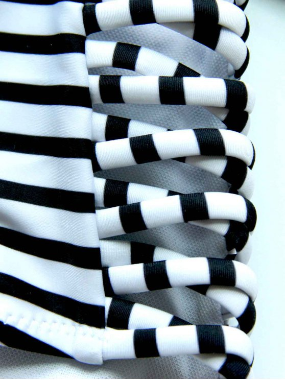 Striped High Waisted Bikini with Crop Top - WHITE AND BLACK M Mobile