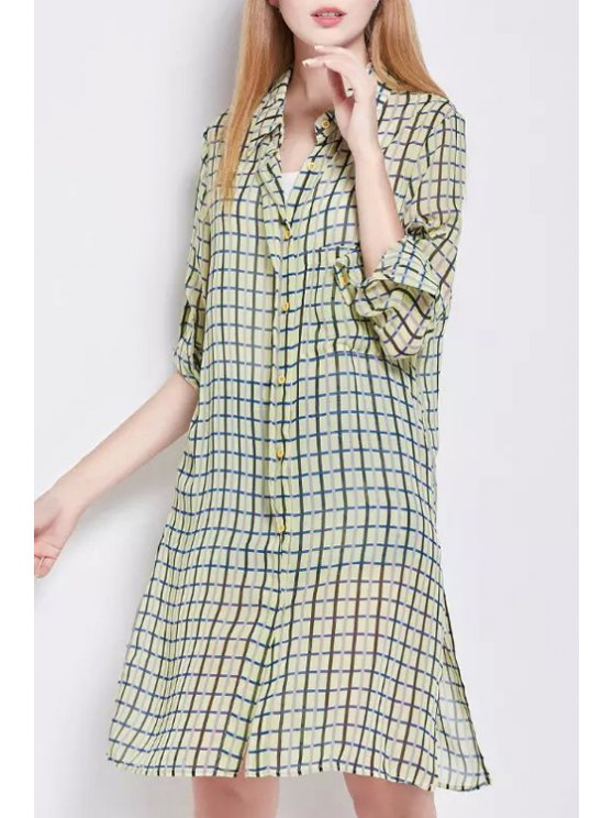 trendy Side Slit Shirt Collar Long Sleeve Plaid Shirt Dress - YELLOW S