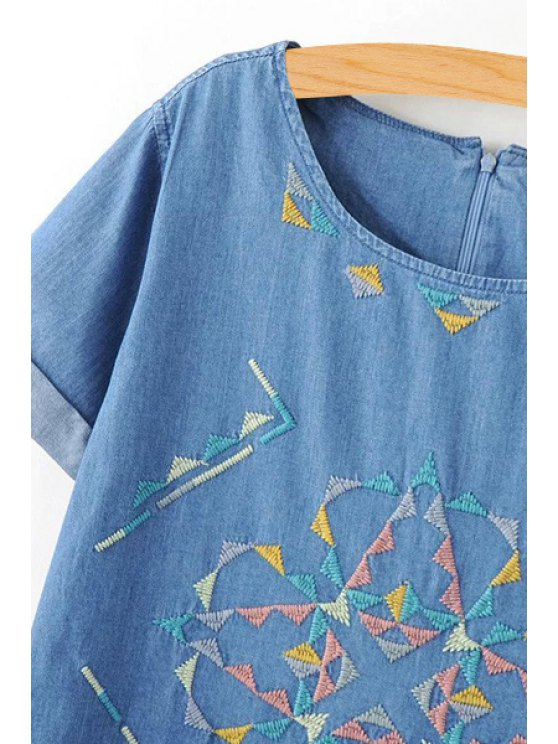 Rolled Sleeve Embroidered Straight Dress - BLUE L Mobile