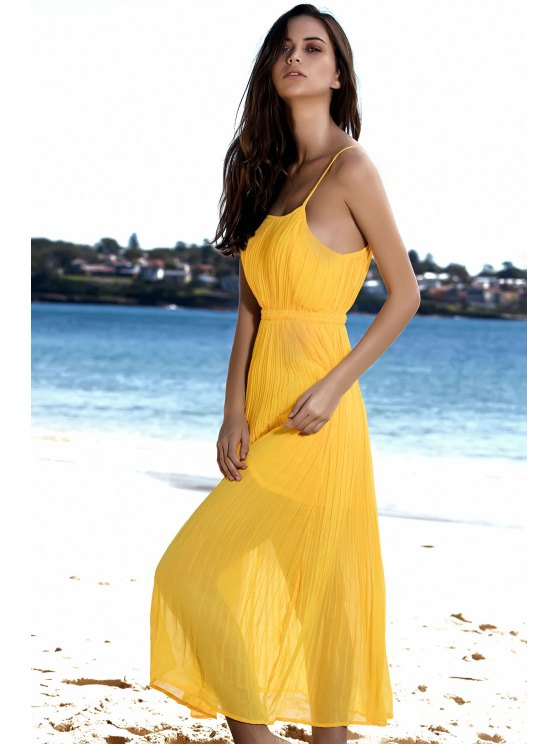 Spaghetti Strap Pleated Yellow Dress - YELLOW M Mobile