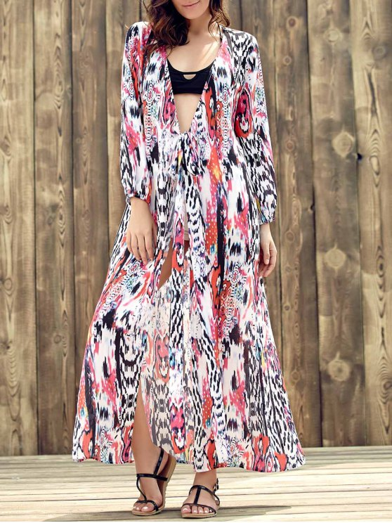 online Ethnic Plunging Neckline Long Sleeve Print Dress For Women - COLORMIX S