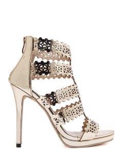 Zip Hollow Out Stiletto Heel Sandals - Golden 36