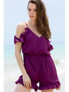 Solid Color Plunging Neck Short Sleeve Cold Shoulder Romper - Purple Xl
