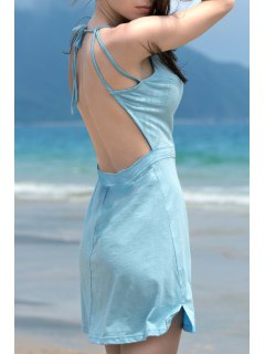 Fashion Backless Solid Color Spaghetti Straps Sleeveless Dress - Lake Blue Xl