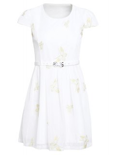 Butterfly Embroidered Dress With Belt - White Xl
