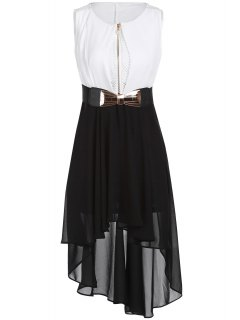 Mesh Design Irregular Chiffon Dress With Belt - White And Black 2xl