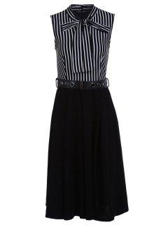 Bow-Tie Neck Striped Midi Dress With Belt - White And Black Xl