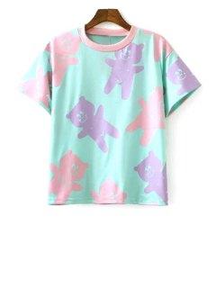 Cartoon Print Short Sleeve Round Collar T-Shirt - Light Green L