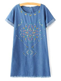 Rolled Sleeve Embroidered Straight Dress - Blue S
