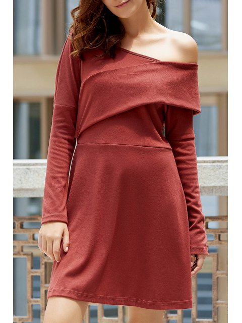 sale Cold Shoulder Long Sleeve Swingy Dress - LATERITE M Mobile