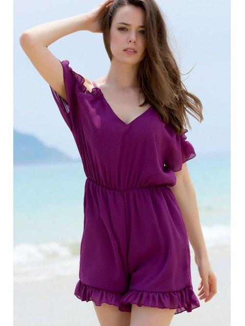 womens Solid Color Plunging Neck Short Sleeve Cold Shoulder Romper - PURPLE S Mobile