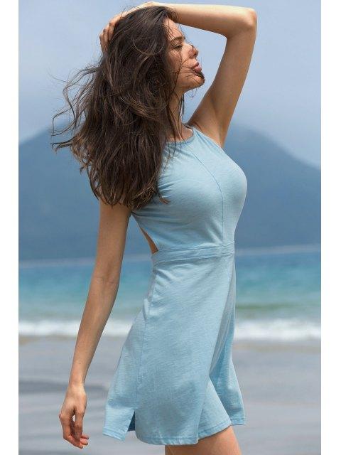 shops Fashion Backless Solid Color Spaghetti Straps Sleeveless Dress - LAKE BLUE XL Mobile