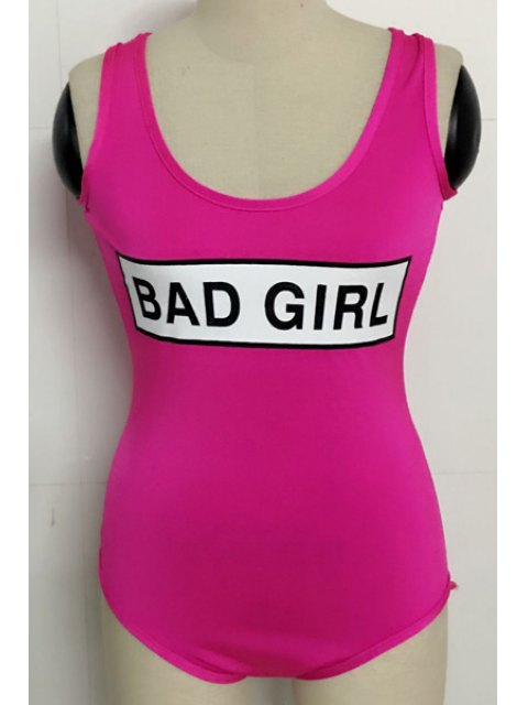 lady Letter Print Scoop Neck Bodysuit - ROSE M Mobile