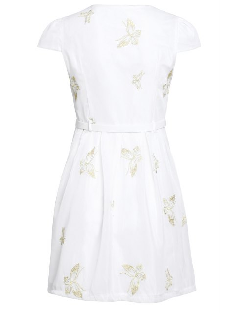 shop Butterfly Embroidered Dress With Belt - WHITE L Mobile