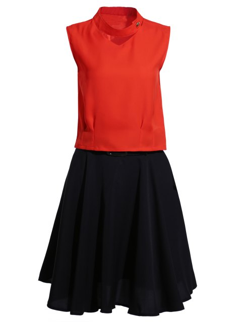 fashion Stand Neck Jacinth Top + Flared Skirt Twinset - BLACK AND ORANGE L Mobile