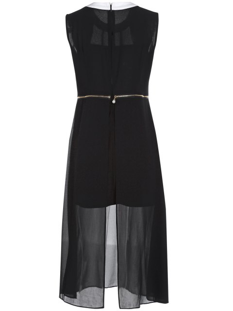 lady Zipper Waist Chiffon Dress - BLACK 2XL Mobile