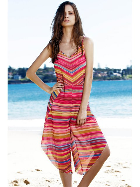 hot Striped Colorful Playsuit - COLORMIX M Mobile