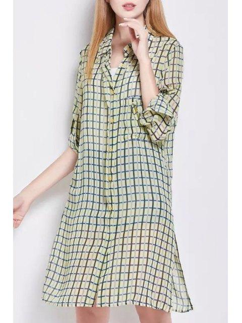 trendy Side Slit Shirt Collar Long Sleeve Plaid Shirt Dress - YELLOW S Mobile