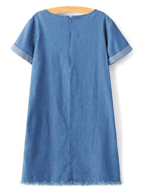 lady Rolled Sleeve Embroidered Straight Dress - BLUE L Mobile