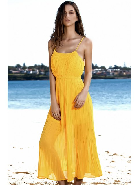 fashion Spaghetti Strap Pleated Yellow Dress - YELLOW M Mobile