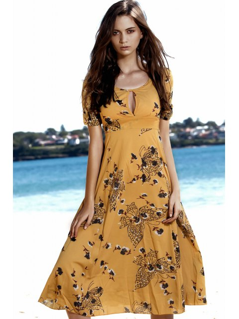 online Floral Butterfly Print Empire Waist Midi Dress - YELLOW M Mobile