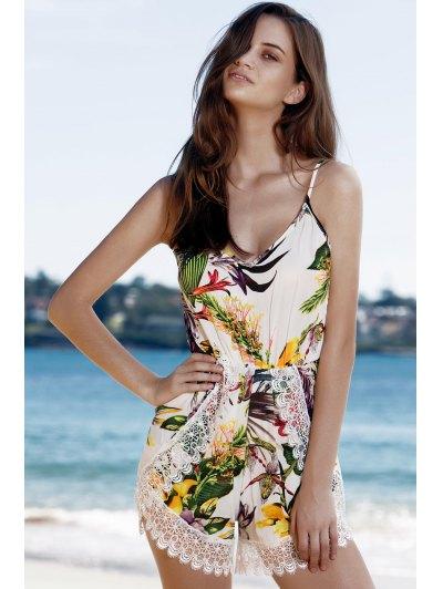 Printed Lace Trim Camisole Romper - WHITE L Mobile