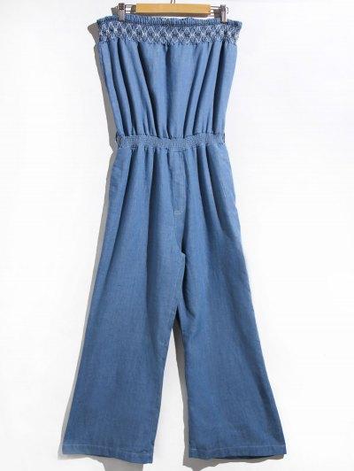 Women's Stylish Strapless Denim Jumpsuit - Blue